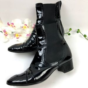 🎉Tod's Womens Black Patent Leather Ankle Boot 8.5